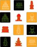 Plaatste het vlakke pictogram van India kleur 3 Royalty-vrije Stock Foto