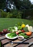 Placé à l'extérieur avec des une série de la nourriture verte de fruit Photos stock