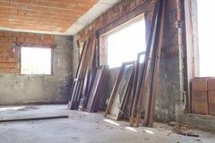 Plac budowy, dom podczas budowy robić z betonem Obraz Royalty Free