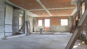 Plac budowy, dom podczas budowy robić z betonem Obrazy Stock