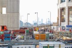 Plac budowy Parkowy miejsce, nowy biurowy rozwój w kanarku Zdjęcie Royalty Free