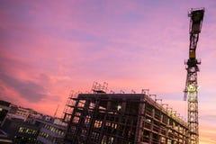Plac budowy z rusztować budowa żurawia Fotografia Royalty Free