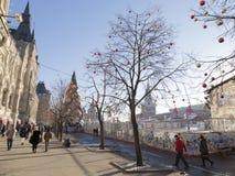 Plac Czerwony podczas Bożenarodzeniowych wakacji Obraz Stock