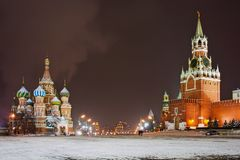 Plac Czerwony przy nocą Zdjęcia Stock