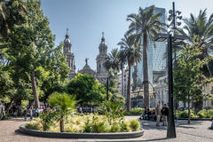 Plac De Armas Obciosujący i katedra - Santiago, Chile Obraz Stock
