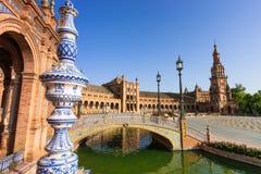 Sławny Plac De Espana, Sevilla, Hiszpania Obraz Royalty Free