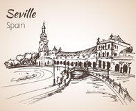 Plac De Espana Nakreślenie Spain miasto Seville Fotografia Royalty Free