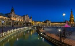 Plac De Espana Sevilla przy nocą zdjęcie stock