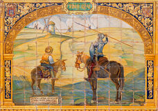 Plac De Espana Seville, Don Quijote, Sancho Panza i wiatraczki -, - Fotografia Royalty Free