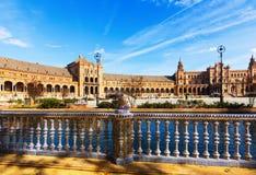 Plac De Espana w słonecznym dniu Seville Obraz Stock
