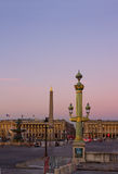 Plac de la Concorde at sunset , Paris Royalty Free Stock Image
