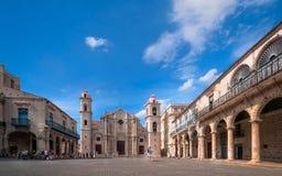 Plac De Los angeles Katedra, Stary Hawański, Kuba Zdjęcie Royalty Free