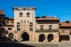 Plac De Mayor w Santillana Del Mącący, Cantabria, Hiszpania fotografia stock