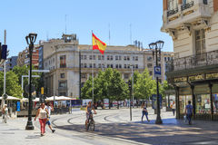 Plac Hiszpania w Zaragoza, Hiszpania Obrazy Stock