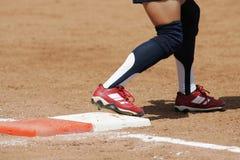 Placa 01 del beísbol con pelota blanda Imagen de archivo libre de regalías