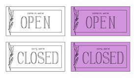 Placa aberta e fechado do vetor Estilo de Minimalistic ilustração stock