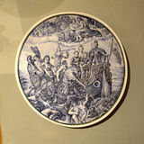 Placa adornada con la pintura del barco Imagen de archivo