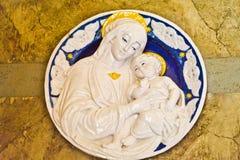 Placa adornada de Madonna y del niño Imagen de archivo