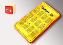 Placa amarela com calendário Fotografia de Stock Royalty Free