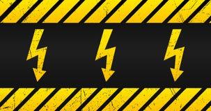 Placa amonestadora de alto voltaje, vieja muestra del peligro con amarillo y rayas negras y textura del grunge stock de ilustración