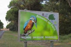 Placa bem-vinda ao parque regional de San Rossore Toscânia, Italy Foto de Stock Royalty Free