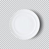 Placa blanca aislada en fondo transparente Imagenes de archivo