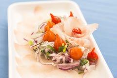 Placa blanca con el sashimi de los pescados blancos, la cebolla púrpura, la pimienta roja y las cebolletas foto de archivo