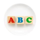 Placa blanca con la muestra de ABC Imagen de archivo libre de regalías