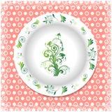 Placa blanca con los ornamentos florales Fotografía de archivo libre de regalías