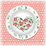Placa blanca con los ornamentos florales Imágenes de archivo libres de regalías