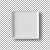 Placa blanca en fondo transparente Mofa de la caja blanca encima de la opinión superior del modelo 3D con la sombra Foto de archivo libre de regalías