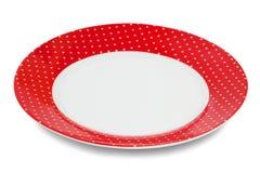 Placa blanca roja elegante elegante Imagenes de archivo