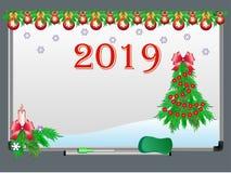 Placa branca com as decorações do Natal e do ano novo e o ano 2019 ilustração do vetor
