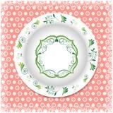 Placa branca com ornamento florais Imagem de Stock