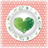 Placa branca com ornamento florais Fotografia de Stock Royalty Free