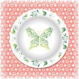Placa branca com ornamento florais Fotos de Stock