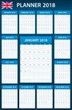 Placa BRITÂNICA do planejador para 2018 Planificador inglês, agenda ou molde do diário Começos da semana em segunda-feira Fotografia de Stock Royalty Free