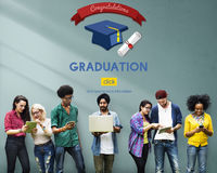 Placa C do almofariz do certificado da celebração das felicitações da graduação foto de stock