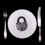 Placa, candado, símbolo de la dieta, aún vida, visión superior, aislada Imagen de archivo