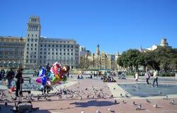 Placa Catalunya, πλατεία της Καταλωνίας, Βαρκελώνη Στοκ φωτογραφία με δικαίωμα ελεύθερης χρήσης