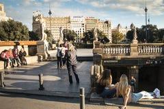 Placa Catalunya στη Βαρκελώνη, Ισπανία Στοκ εικόνα με δικαίωμα ελεύθερης χρήσης