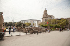 Placa Catalunya στη Βαρκελώνη, Ισπανία Στοκ Εικόνες