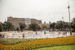 Placa Catalunya στη Βαρκελώνη, Ισπανία Στοκ Φωτογραφία