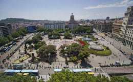 Placa Catalunya, Barcelon. Barcelona, Spain - May 26, 2015: View of the Placa Catalunya square with offices and department stores, on May 26, 2015 in Barcelona Royalty Free Stock Image