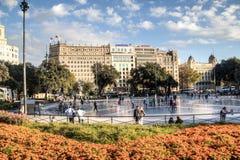 Placa Catalunya in Barcelona, Spain Royalty Free Stock Photo