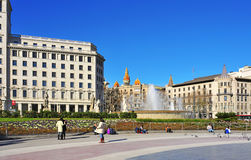 Placa Catalunya in Barcelona, Spain Stock Images
