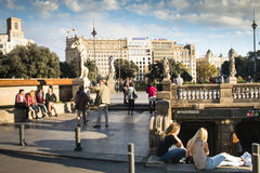 Placa Catalunya in Barcelona, Spain Royalty Free Stock Images