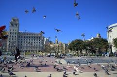 Placa Catalunya, cuadrado de Cataluña, Barcelona Imagen de archivo libre de regalías