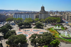 Placa Catalunya em Barcelona, Spain Fotografia de Stock Royalty Free