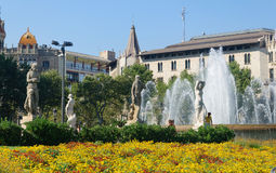 Placa Catalunya fountains Royalty Free Stock Photo